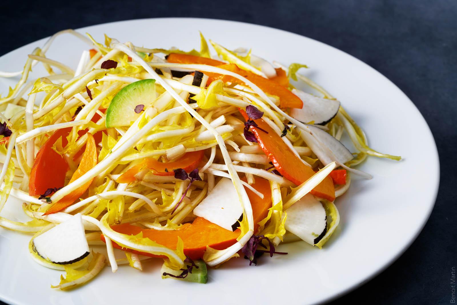 Salade pissenlits, potimarron et radis noirs